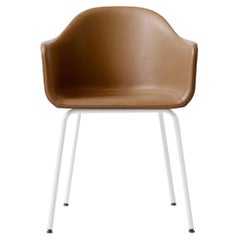 "Harbour Chair, Legs in White Steel, Nevotex ""Dakar"" #0250 'Cognac'"