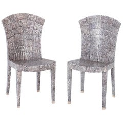 Pair of Midcentury Shagreen Covered Dining Chairs