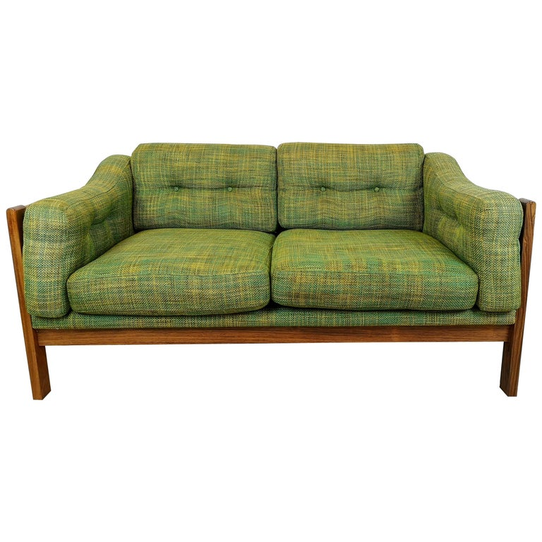 """Midcentury Rosewood and Green Cushions Sofa """"Monte Carlo"""", Sweden, 1960s For Sale"""