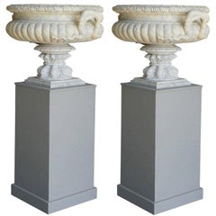 Mid-19th Century Pair of French Tazza Urns