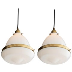 Petite Opaline and Brass Pendant, Italy, 21st Century