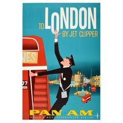 Original Vintage Mid Century Pan Am Poster London by Jet Clipper Piccadilly Bus