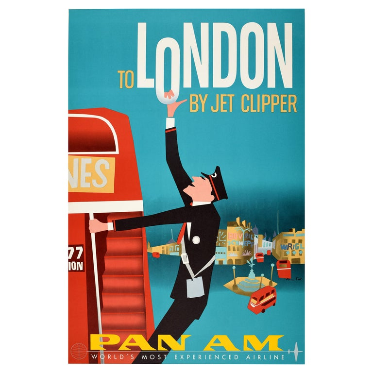 Original Vintage Mid Century Pan Am Poster London by Jet Clipper Piccadilly Bus For Sale