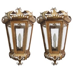Pair of Hollywood Regency Gilt Toleware Italian Lantern Sconces, 1950s