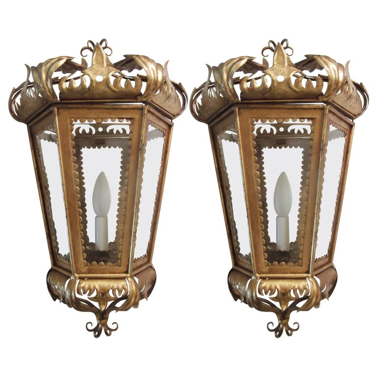 Pair of Hollywood Regency Gilt Toleware Italian Lantern Sconces, 1950s For Sale