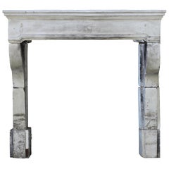 French Grand Country Limestone Antique Fireplace Surround
