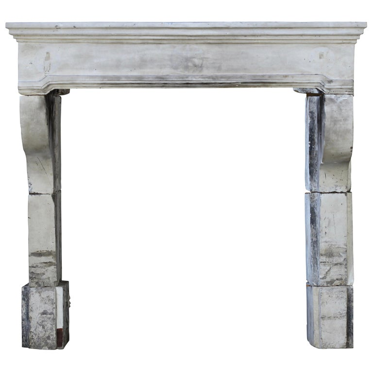 French Grand Country Limestone Antique Fireplace Surround For Sale