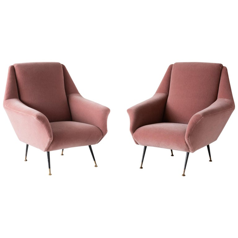 Pair of Modern Mohair Armchairs, Italy, circa 1950 For Sale