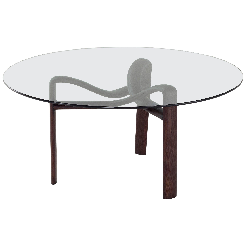 Amura 'Twister' Dining Table in Grey Glass and Dark Oak by Stefano Bigi