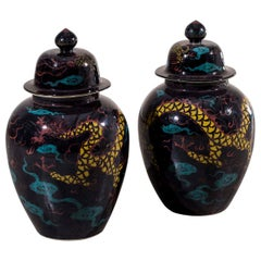 Pair of Huge Modern Black Glazed Ceramic Dragon Chinese Temple Vases with Lids