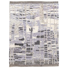 Contemporary Abstract Violet and Charcoal Moroccan-Style Wool Rug