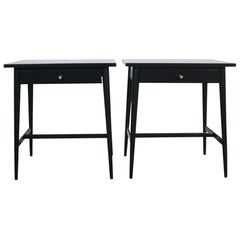 Midcentury Paul McCobb #1586 Nightstands Black Lacquer Finish Nickel Knobs
