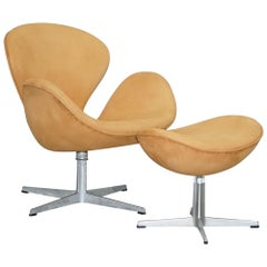 Fritz Hansen 1976 Swan Armchair & Matching Egg Footstool Brown Suede Leather