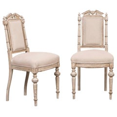 Pair of Antique French Napoleon III Period Painted Chairs, circa 1870