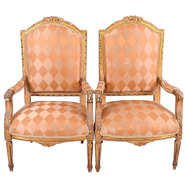 Pair of Gilded Gustavian Armchairs