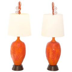 Pair of Vintage Lava-Glazed Table Lamps in the Manner of Otto Natzler