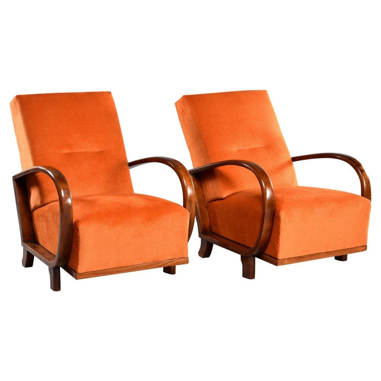 Pair of Midcentury Italian Chairs with Walnut Arms & Pumpkin Chenille Upholstery For Sale