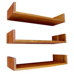 Mid-Century Modern Wall Mount Walnut Shelves Designed by Mel Smilow