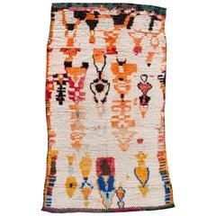Vintage Tribal Ivory Moroccan Wool Scatter Rug