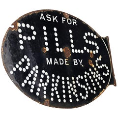 Early 20th Century Double Sided Enamel Pills by Parkinson's Sign