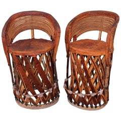 Mexican Tlaquepaque  Bar Stools in Leather and Wood - Pair