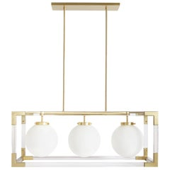 Jacques Lucite and Brass Three-Light Pendant
