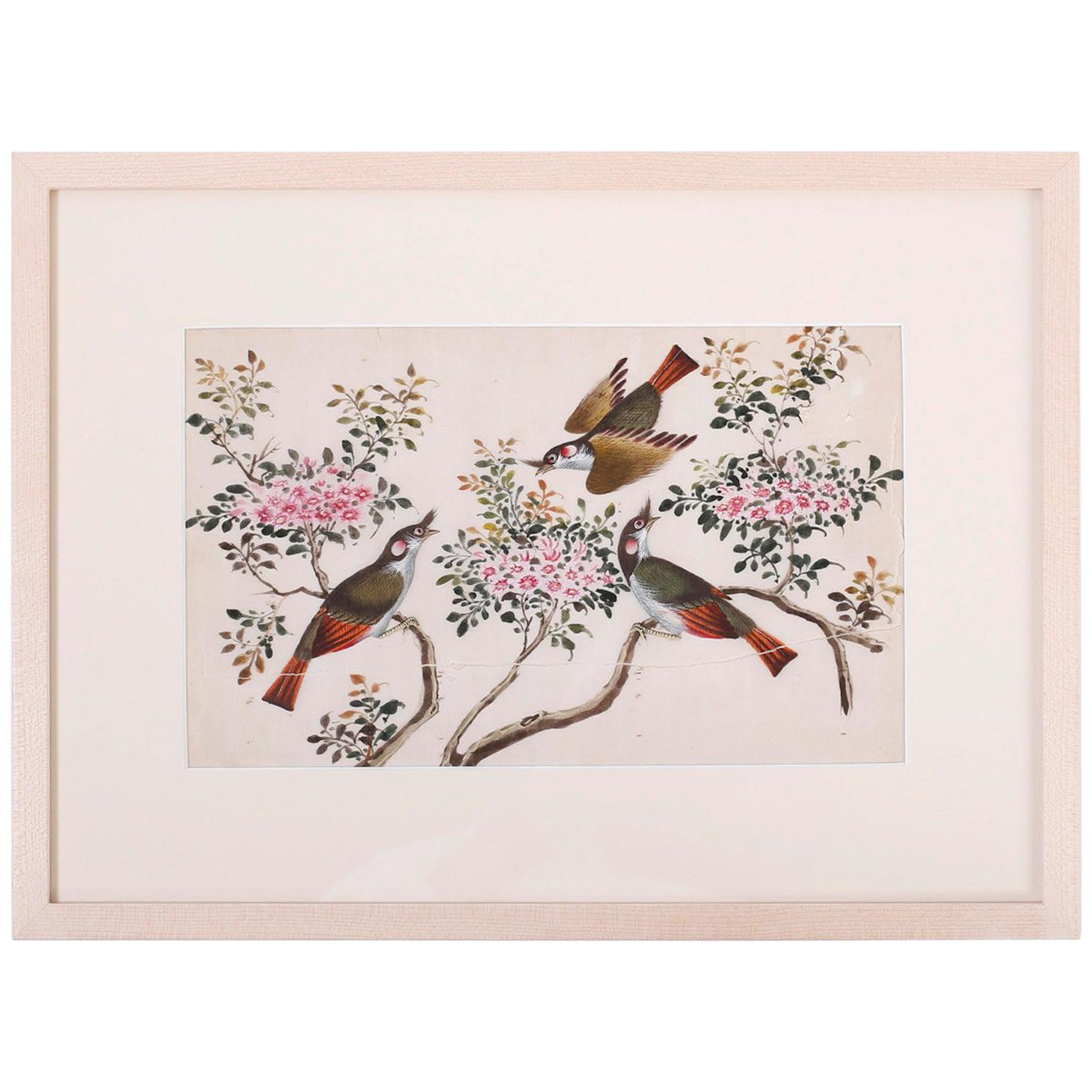 Antique Pith Painting of Birds