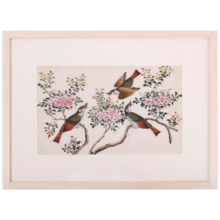 Antique Pith Painting of Birds For Sale