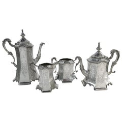 Rare and Pristine Gothic Style Antique Sterling Silver Tea Set, Victorian, 1852
