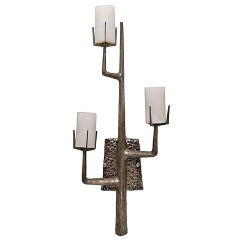 Felix Agostini Style Organic Modernist Wall Sconces in Silver