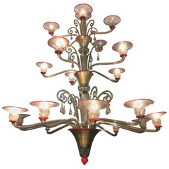 Art Deco Venini Murano Glass Majestic Chandelier by Napoleone Martinuzzi, 1930