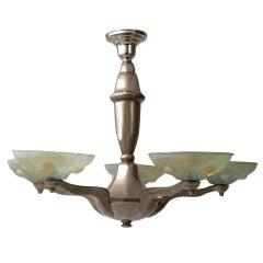 Pressed Vaseline Glass Art Deco Style Chandelier