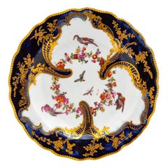 Chelsea Rococo Porcelain Mazarine Blue Plate with Birds and Flowers, 1759-1768