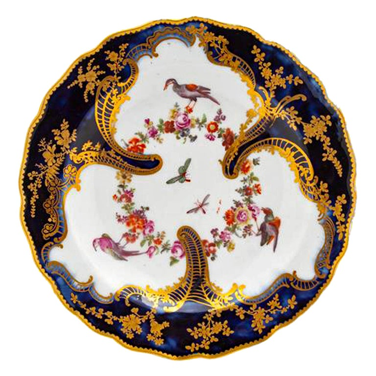 Chelsea Rococo Porcelain Mazarine Blue Plate with Birds and Flowers, 1759-1768 For Sale