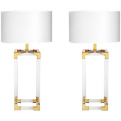 Jacques Lucite and Brass Column Table Lamp
