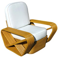 Restored Paul Frankl Style Square Pretzel Rattan Lounge Chair