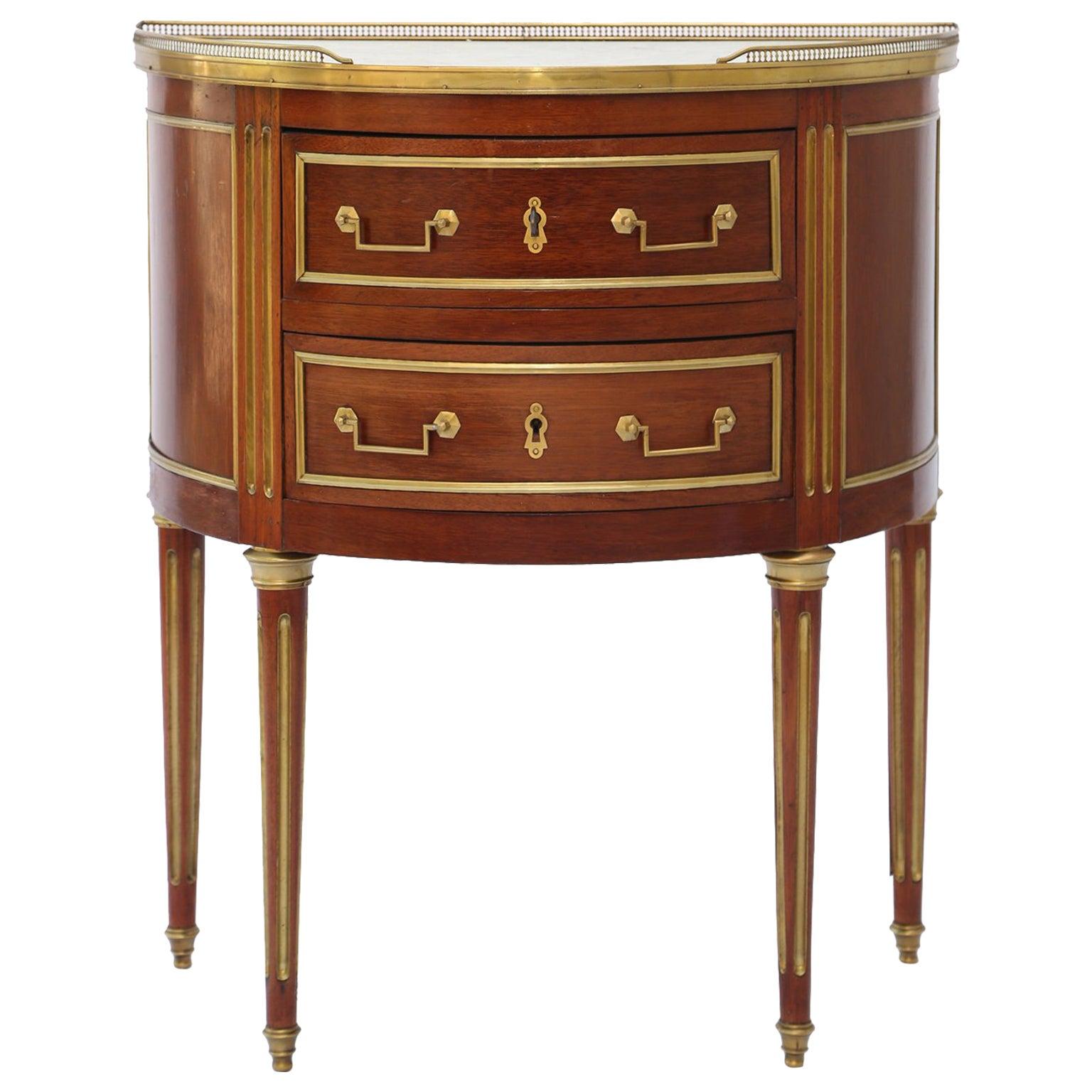 19th Century Louis XVI Style Mahogany Demilune Commode