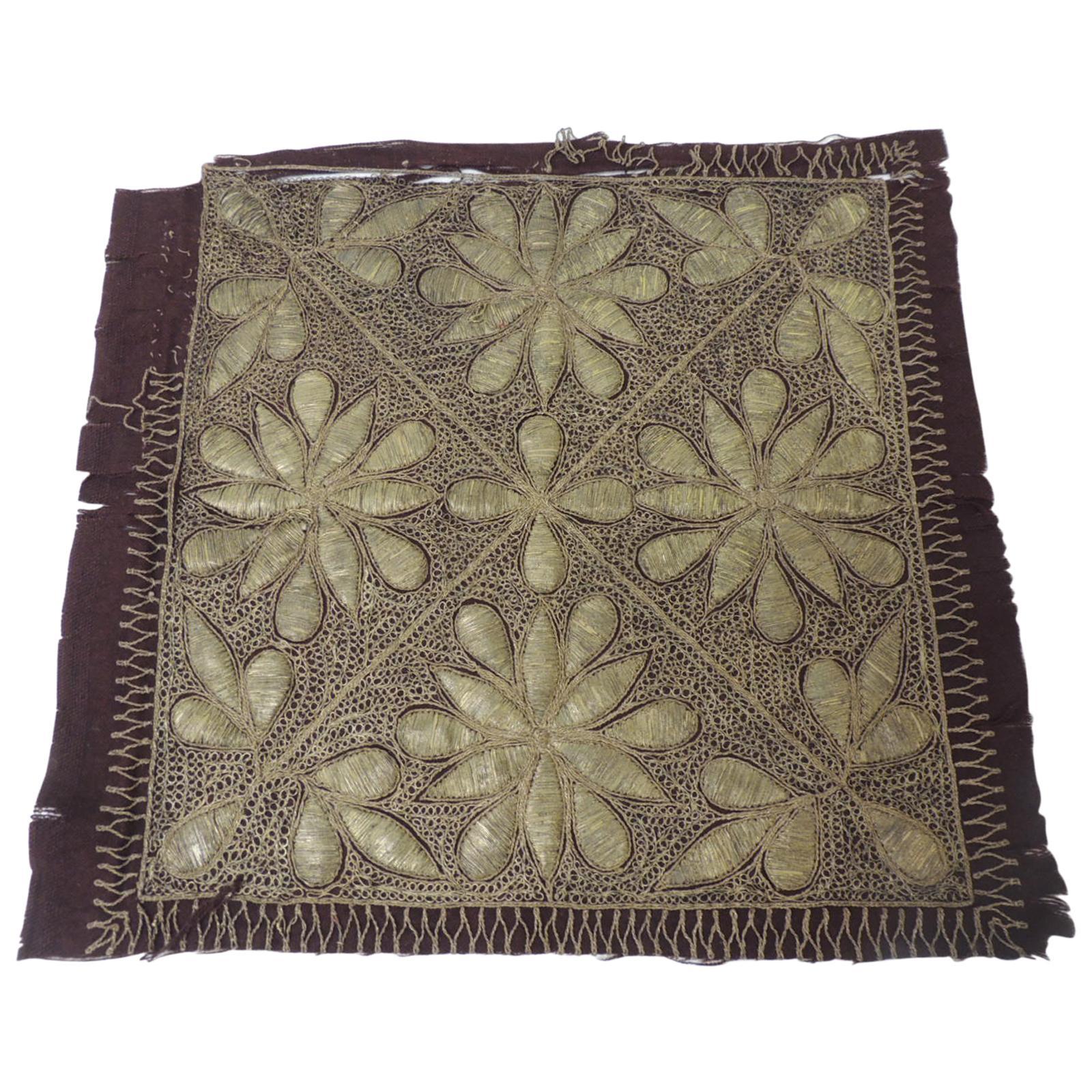 19th Century Persian Ottoman Empire Gold Metallic Threads Embroidered Textile