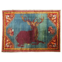 Antique Pictorial Deer Rug