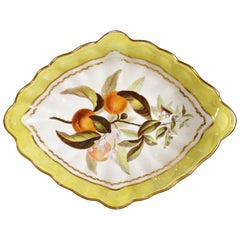 Derby Porcelain Yellow-Ground Botanical Dish, Pattern #216, circa 1795