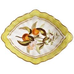 Derby Porcelain Yellow-Ground Botanical Dish, Pattern #216, circa 1795