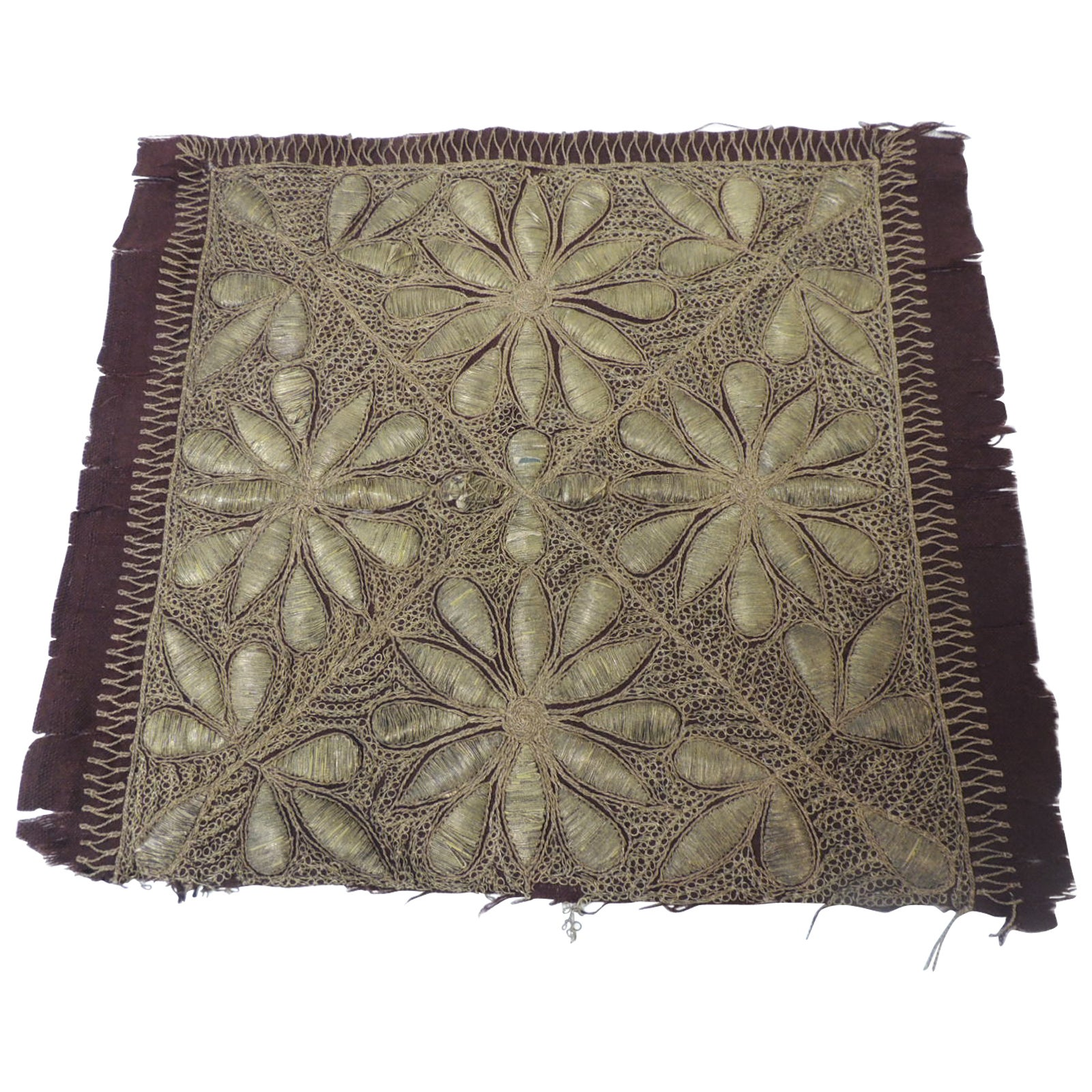 19th c. Persian Ottoman Empire Gold Metallic Threads Embroidered Textile