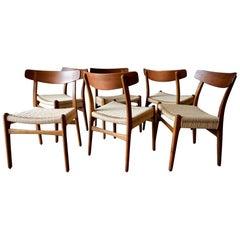 Set of 6 Hans Wegner CH23 Oak Dining Chairs, circa 1960