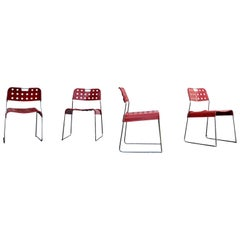 Rodney Kinsman Space Age Red Omstak Dining Chair for Bieffeplast, 1971, Set of 4