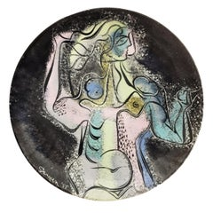 Stanley Stangren, Nude, Mid-Century Modern Hand-Painted Plate, circa 1955