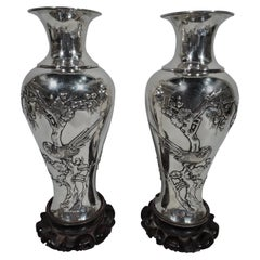 Pair of Antique Chinese Silver Vases with Blossoming Branches and Birds
