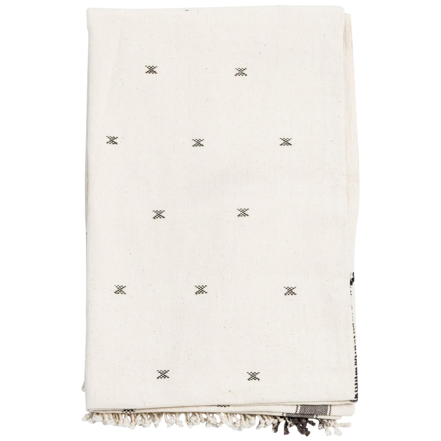 AMRO Handloom Throw / Blanket , Black & White Minimal Motifs  In Organic Cotton