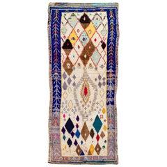 Vintage Ivory and Blue Moroccan Wool Runner Rug