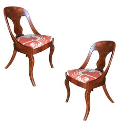 Streamline Art Deco Mahogany Side Chairs, Set of Two