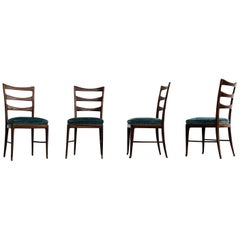 Paolo Buffa Midcentury Walnut and Emerald Velvet Dining Chairs, 1948, Set of 4
